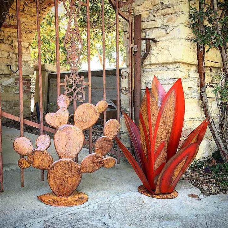 Деко-металлические садовые скульптуры, современная агавы-Corten сталь-кактус-металл