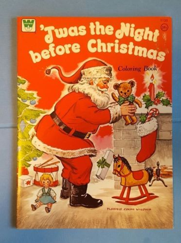 Twas-The-Night-Before-Christmas-Coloring-Book-Vintage-1975-Unused-Whitman