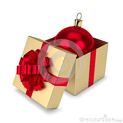 3d rendering of christmas bauble in gift box isolated over white background