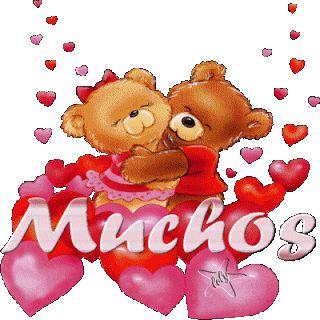 Imagen de amor con un corazón en movimiento de ositos tiernos que están juntos descargalo en tu facebook y dedícale gratis.Muchos besos