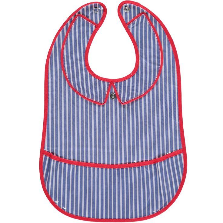 Bavoir Rayure Bleu / Rouge 6 -18 mois Bavoir chic  garçon  à rayures bleu biais rouge Col chemise plastifié, fermeture pression et rabat amovible clipsable. Matière : 100% coton doublé 100%PVC Un coup d'éponge c'est lavé ! Les Pascalettes Prix : 28 €