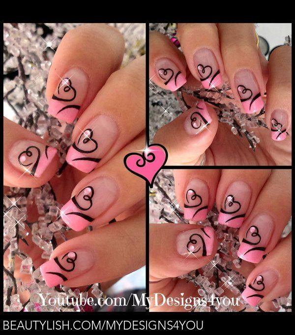 Simple French Tip Nail Designs | Easy Valentine's Day Nail Art | Cute Heart French Tip Nails