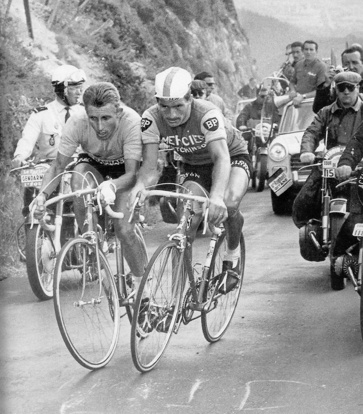 Jaques Anquetil and Raymond Poulidor battle on the Puy de Dome, 1964