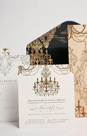 Black & Gold Wedding Invite with Chandelier Detail
