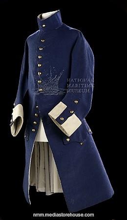 Royal Naval Midshipman uniform: Frock Coat pattern 1748-1758.