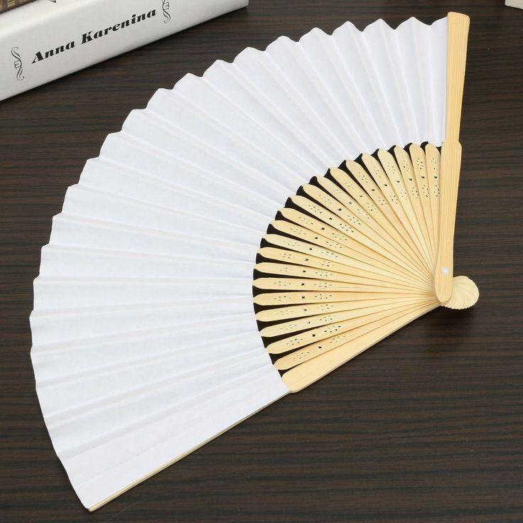 Blank White Chinese Folding Bamboo Fan Retro Hand Paper Fans Wedding Gift &