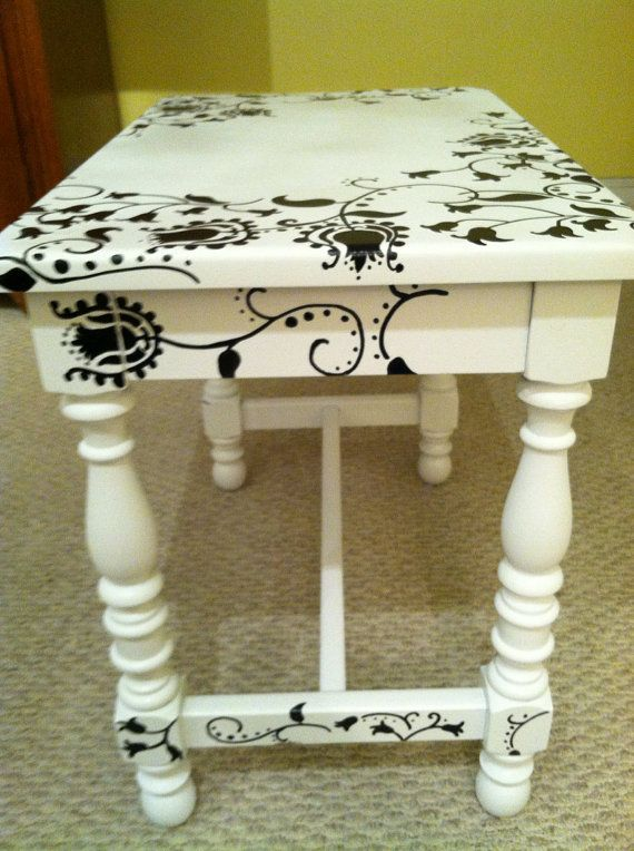 Hand-painted wooden table by NotSoPlainJaynes on Etsy
