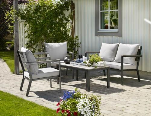 Birmingham – smidig liten soffgrupp i nonwood och aluminium. Utemöbler, trädgårdsmöbler, Outdoor furniture.