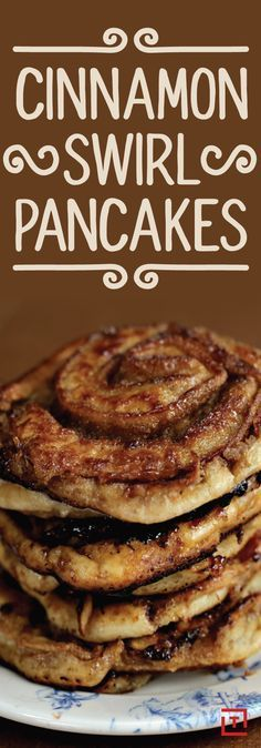 Cinnamon Swirl Pancakes w/ a cream cheese icing drizzle