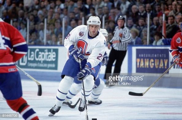 NHL Playoffs Quebec Nordiques Steve Duchesne 28 In Action Vs Montreal Canadiens