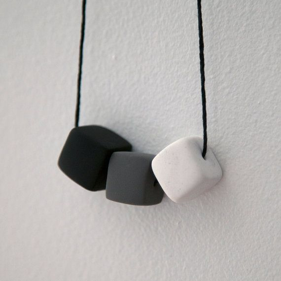 Black & White Geometric Necklace // Minimal and Modern