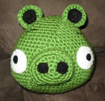 The Green Pig from Angry Birds game crochet pattern tutorial pdf.  Cool idea.