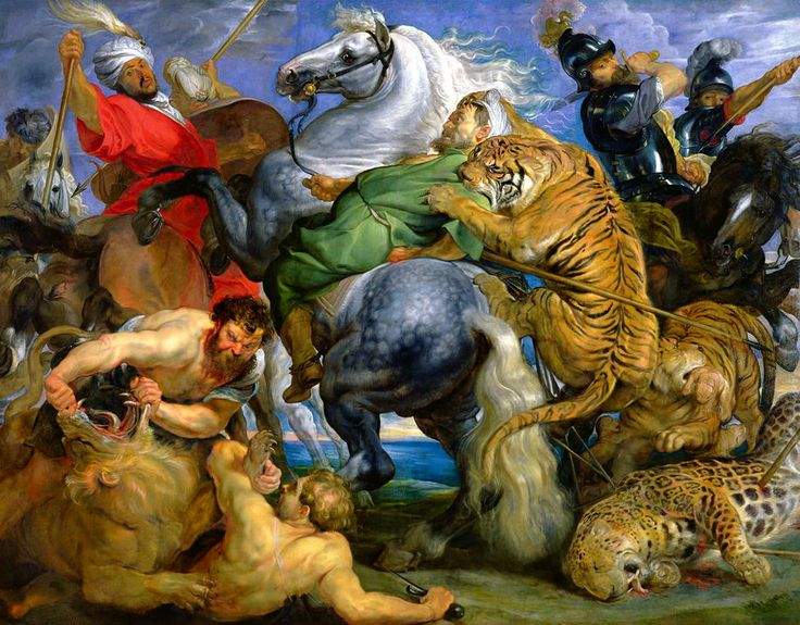 Peter Paul Rubens and Workshop:The Tiger, Leopard and Lion Hunt (1615-21)