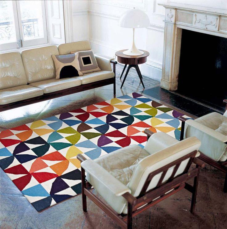 100% Wool Flat Weave Fun Multicoloured Rug