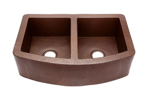 "Picture of 36"" Rounded Front Lg Two-Well Copper Farmhouse Sink"