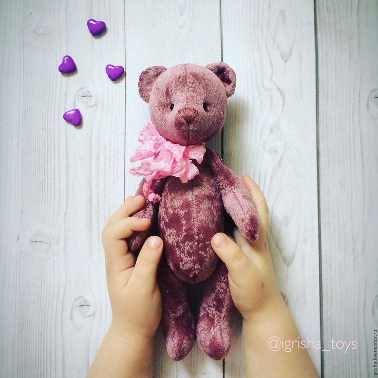 Купить Медвежонок - брусничный, мишка, тедди, медвежонок, интерьерная игрушка, текстильная игрушка, шебби-шик