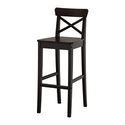 IKEA - INGOLF, Bar stool with backrest, Footrest for extra sitting comfort.Solid wood is a durable natural material.