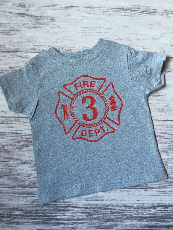 Fireman birthday shirt Firetruck birthday by PurpleElephantSTL