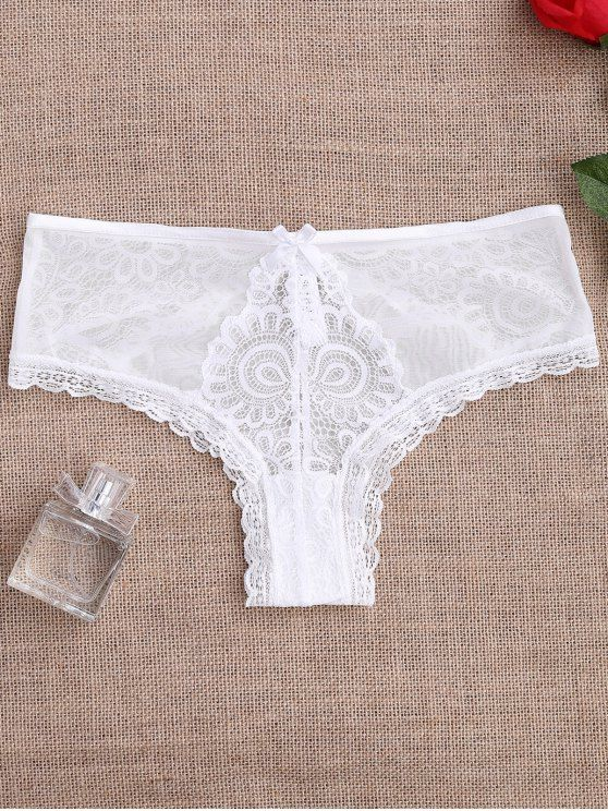 Lace Panel See Thru Thong Panties - WHITE M