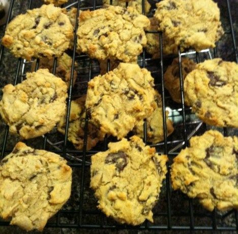 A (somewhat) healthy version of chocolate chip cookies from the Canyon Ranch Spa that uses low-fat cream cheese to replace some of the oil, as well as part whole wheat flour.  The recipe was printed in their cookbook, Canyon Ranch: Nourish: Indulgently Healthy Cuisine.