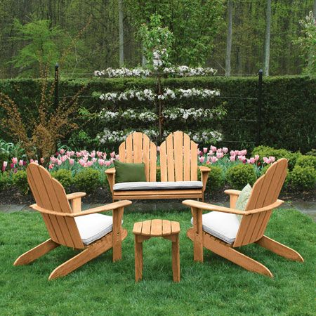 Teak Adirondack Chairs Footstools Outdoor Furniture Country Casual