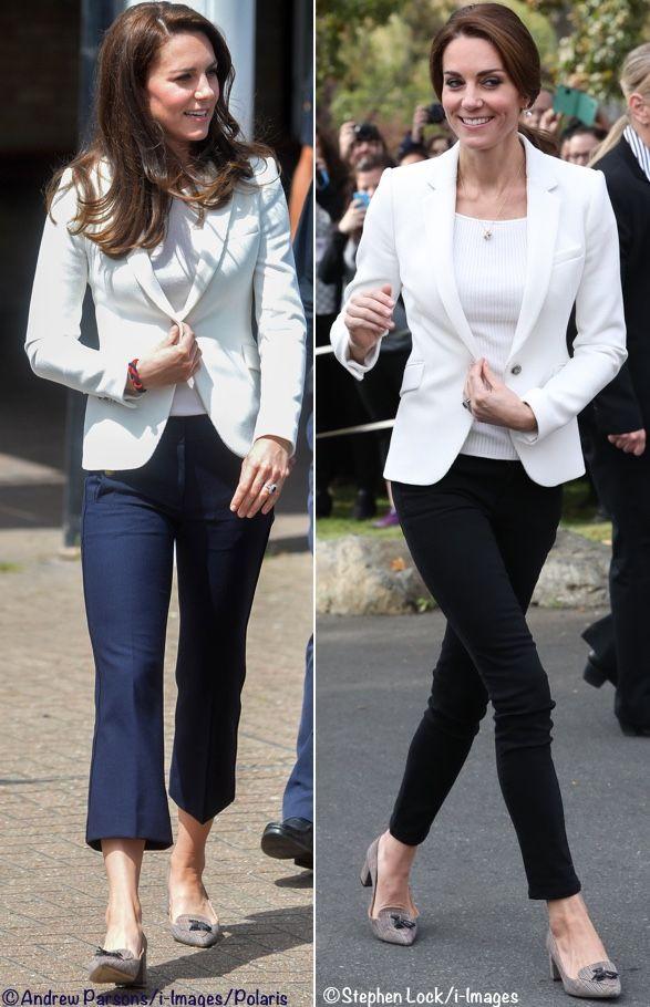 Kate Middleton Style (casual ) - Duchess Catherine of Cambridge 1851 Trust Engagement (wearing white Zara blazer, J Crew Sailor pants, Avery Tweed)