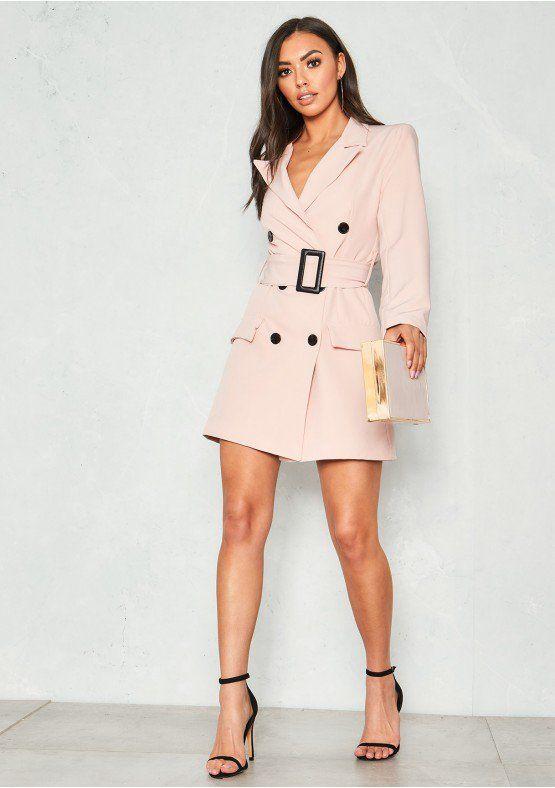 c170f99080 Leandra Pink Belted Blazer Dress Missy Empire