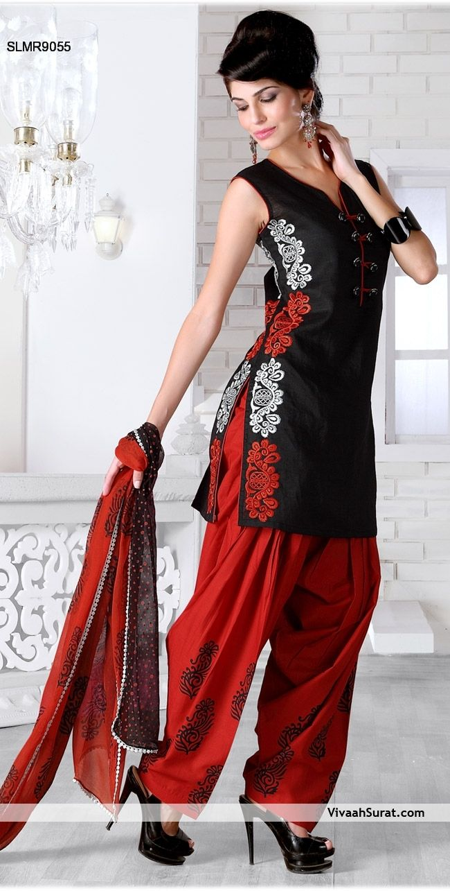 Red/Black Patiala Suit