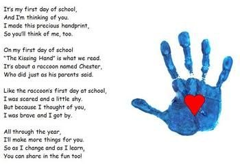 The kissing hand: Kissing Hand Poem, The Kissing Hand Craft, First Day Of School Poem, Handprint Poem, Hand Art, Kissing Hand Project, Art Projects