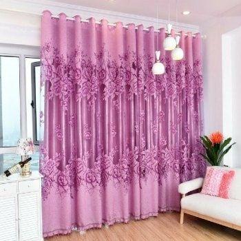 Purple Flower Peony Modern Bedroom Curtains