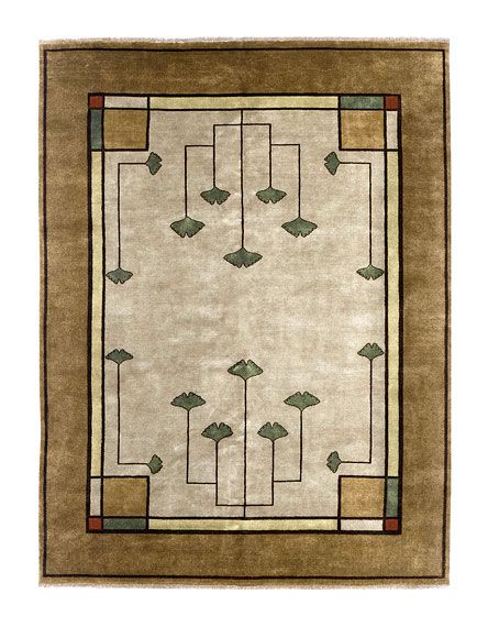 Gingko pattern carpet.