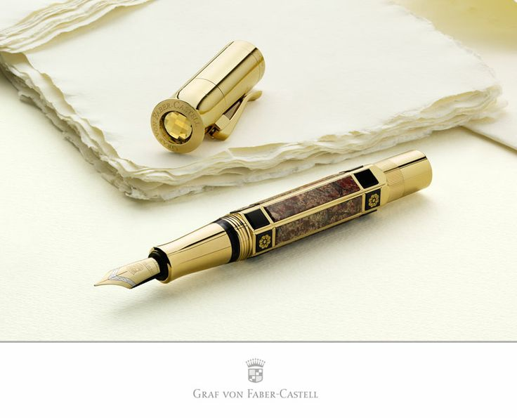 The barrel of this fountain pen is decorated with six beautifully designed jasper stones: they are framed by intricately worked rosettes in 24-carat gold, which are embedded by hand into ebony precious resin platelets. #fountainpen