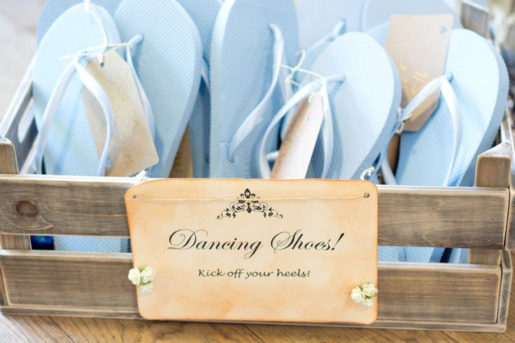 flipflops for your guests to save the day when it comes to achey feet.