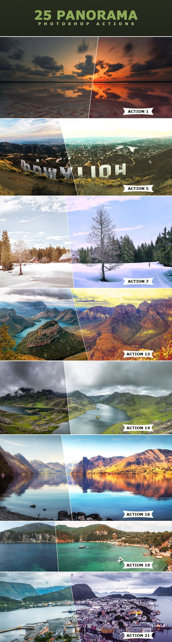 25 Panorama Actions - Photo Effects #Actions