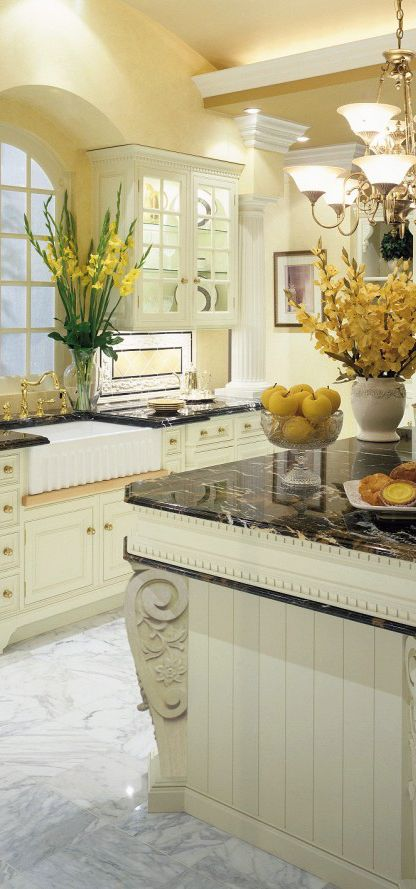 Traditional kitchen in soft hues of yellow