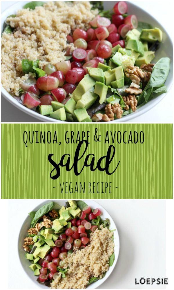 Vegan quinoa, grape & avocado salad with nuts and balsamic vinegar