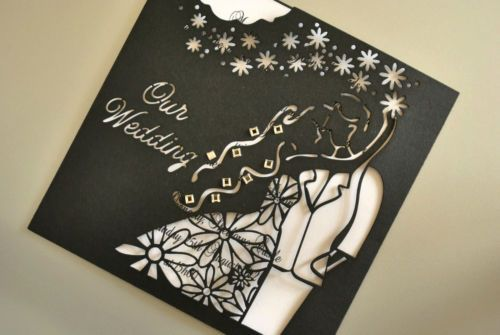 Wedding Laser Cut Invitation Floral Bridal Couple (INV019), insert & envelope | eBay