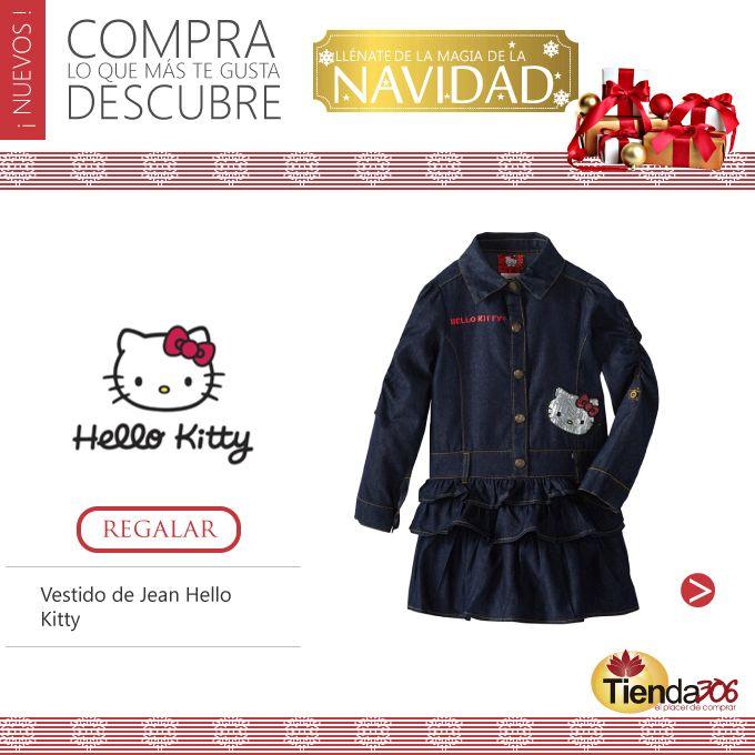 Vestido de Jean Hello Kitty   Vestido infantil con color Azul Oscuro y un lindo estampado delantero, confeccionado en jean, y posee botones en la parte frontal. El cual posee ligereza y comodidad pues es de textura suave.  Ver más en: http://bit.ly/1ILWX2I