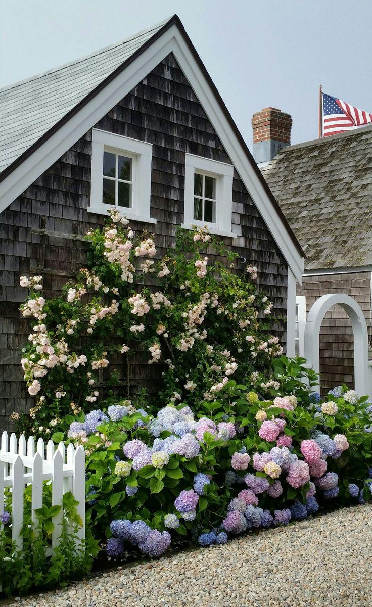 Beautiful coastal home with hydrangeas
