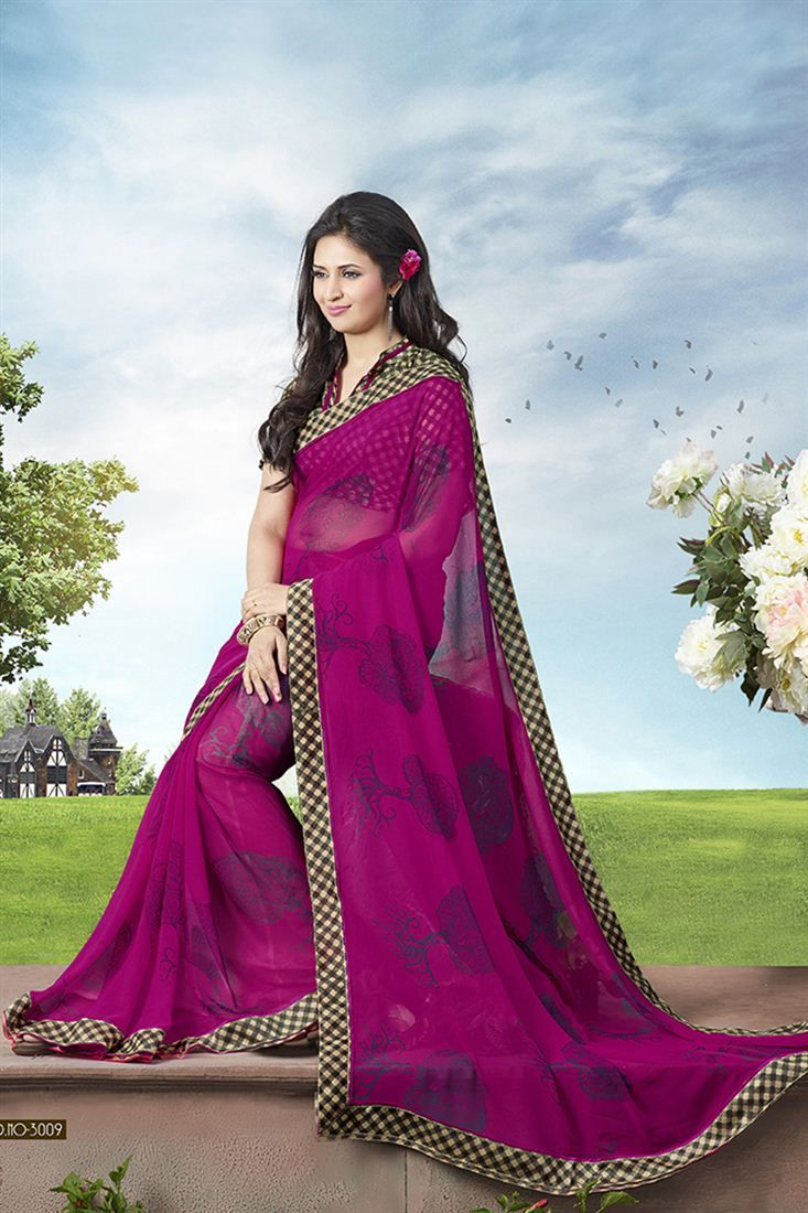 Divyanka Tripathi Pink Color Georgette Saree