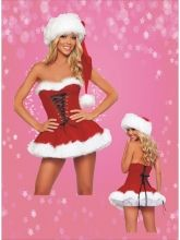 Dark Red Sexy Strapless Lace Up Santa Bubble Skirt Item No : W4092 Sales Price : US$ 10.55