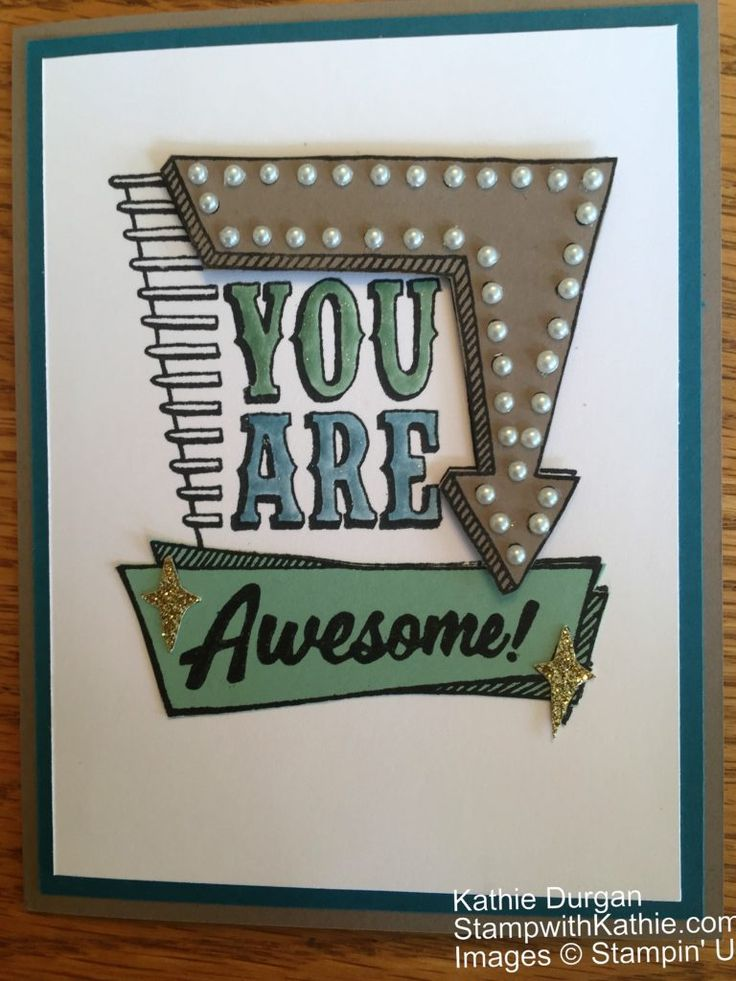 The new stamp set Marquee Messages (available 6/1) is so much fun and has so many possibilities. You can change the message, the colors, the bling :-). So I incorporated the color challenge from …