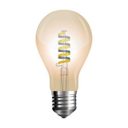 LED lámpa , égő , izzószálas hatás , körte , E27 foglalat , 4 Watt , borostyán sárga , meleg fehér , vintage