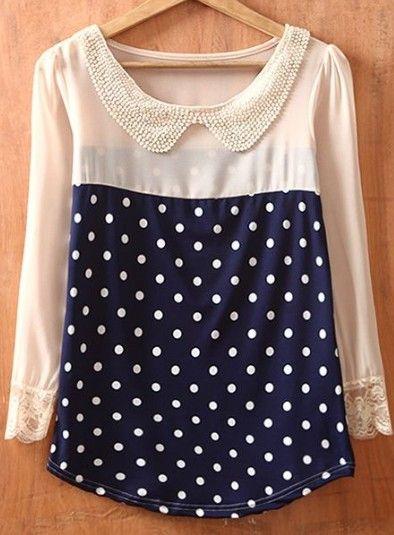 Navy Beige Polka Dot Long Sleeve Chiffon Blouse >> Love this top.