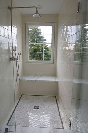 Cabochon Tile - bathrooms - glass front walk in shower, window in shower, shower window, window over shower bench, window over shower seat, ...