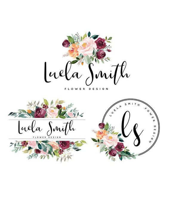 Flower logo design gold logo premade logo photography logo branding kit purple floral logo boutique logo round logo modern business logo