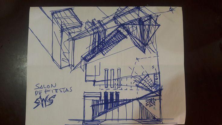 Boceto de concepto para salón de fiesas en Veracruz, Ver.