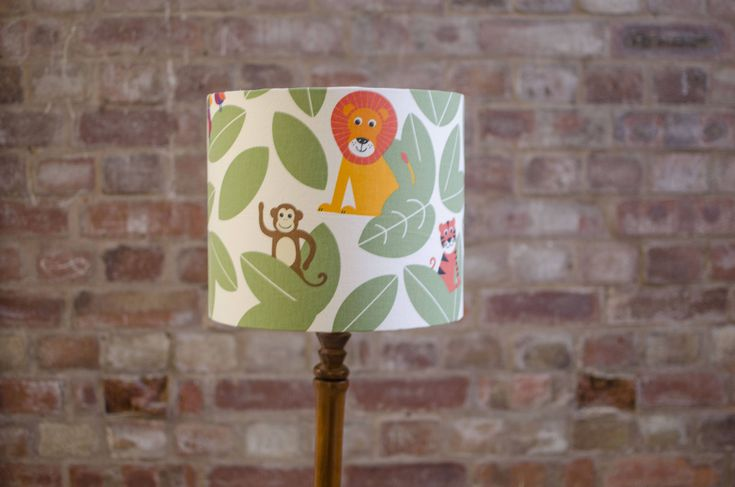 Jungle Lampshade, Jungle nursery theme, Safari nursery, Jungle animals, Nursery decor, Nursery table lamp, Kids table lamp, Jungle nursery by ShadowbrightLamps on Etsy https://www.etsy.com/uk/listing/577791793/jungle-lampshade-jungle-nursery-theme