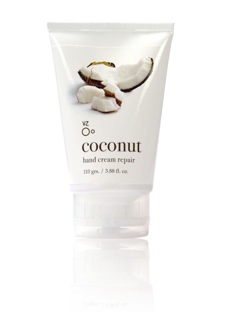 Línea Coco  Crema reparadora de manos con aceite de germen de trigo y silicona.