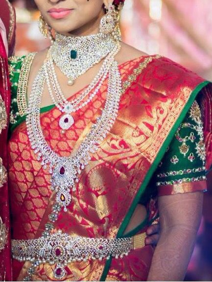 Bridal saree blouse embroidery Telugu bride Tamil bride Heavy Bridal Jewellery Diamond Jewellery